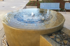Bomanite Integral Color was paired here with a smooth trowel finish to create a decorative concrete fountain at the Clovis Community Medical Center and the tranquil, calm atmosphere is perfect to remind patients and visitors that every moment matters.