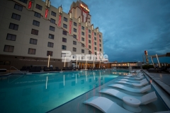 Bomanite Alloy architectural exposed concrete was installed at the Hard Rock Hotel & Casino Tulsa to create a distinctive pool deck design, adding the perfect slip resistant, durable, low maintenance surface for this well-known gaming hotel.