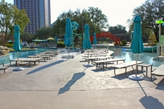 Bomanite Sandscape Refined decorative concrete with the Bomanite Shifting Sand Imprint pattern was installed here to create a beautiful pool deck at this resort, adding subtle color and texture to the hardscape that is distinctive and durable.