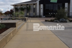 Bomanite Sandscape Texture decorative concrete was installed here to create a cohesive hardscape design that adds harmony and balance to the various multi-use spaces throughout the CrossCity Christian Church campus.