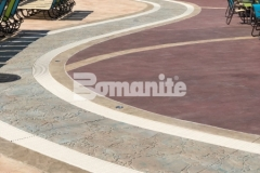 This decorative concrete decking was skillfully created by our associate, Harrington Bomanite, and features Bomanite Imprint Systems, including multiple Bomacron patterns that integrate perfectly to add beautiful contrast and dimensional detail throughout the Castaway Island water feature in Canobie Lake Park.