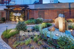 The Bomanite Imprint System is featured here in both Small Sandstone and Regular Slate patterns and these decorative concrete walkways meander through the healing garden that was created here to help aid healing of body and spirit for patients, visitors, and staff at CMC Mercy Hospital.