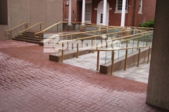 Bomanite Basketweave Brick stamped concrete was installed here utilizing traditional Bomanite Color Hardener to create a hardscape surface that is durable, has excellent wear and fade resistance, and is the most effective coloring method to achieve the desired results in the installation of Bomanite Imprinted concrete surfaces.