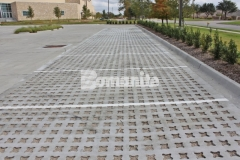 Featured here is Bomanite Grasscrete that was installed by our partner, Texas Bomanite, using biodegradable Molded Pulp Formers and crushed stone to fill the voids, allowing for a decrease in the overall impervious percentage on the site and proper stormwater drainage.
