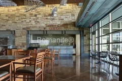 Texas Bomanite using Bomanite Custom Polishing Systems with Renaissance decorative concrete at The Summit at Central Park in Grand Prairie Texas.