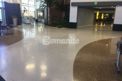 Bomanite Modena Custom Polished Concrete is featured here and  adds a unique elegance to this space with a free-flowing design that highlights the beautiful aggregates and lustrous finish.