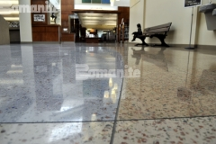 Bomanite Modena was installed here to create a decorative concrete overlay flooring that has beautiful aggregates and recycled glass incorporated into the mix with two different concrete dyes added during the polishing process to add an organic and fluid finish.
