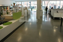 Texas Bomanite using Bomanite Custom Polishing Systems with Modena decorative concrete at Herman Miller, Inc. in Dallas Texas.