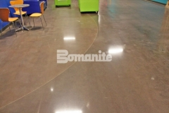The Bomanite Patene Teres Custom Polishing System was used here to create distinctively beautiful decorative concrete flooring that adds warmth and character to this church space while providing a durable surface that will hold up to the heavy foot traffic.