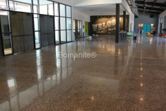 Texas Bomanite using Bomanite Custom Polishing Systems with VitraFlor decorative concrete at Chase Oaks Church in Fairview, Texas.