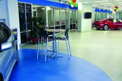 Texas Bomanite using Bomanite Toppings Systems with Micro-Top decorative concrete at First Texas Honda in Austin, Texas.