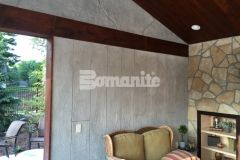 The Bomanite Bomacron Boardwalk pattern was utilized here to emboss and texture a Bomanite Thin-Set overlay that was installed vertically to create these beautifully distinctive cabana walls and add character and warmth to this space.