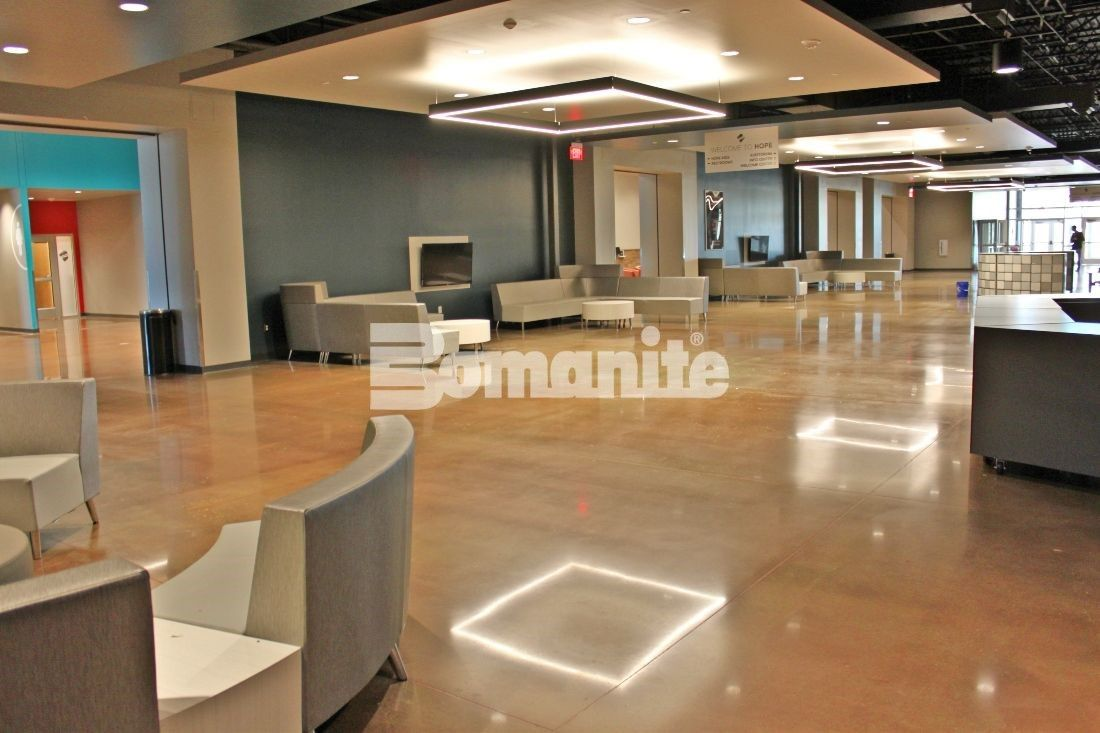 Bomanite Custom Polishing Systems using Bomanite Patene Teres decorative concrete installed by Texas Bomanite creates an inviting and breathtakingly beautiful lobby area for Hope Fellowship Bible Church.