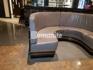 Seating area in Iron Chef's restaurant, Angeline by Michael Symon, showing the Bomanite Decorative Concrete Bomanite Modena SL Custom Polished Concrete Floors located located in the Borgata Hotel Casino and Spa in Atlantic City.