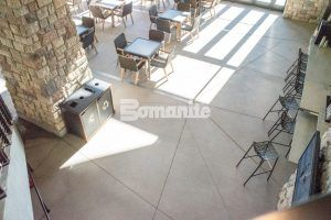 Overhead view of decorative concrete  including Bomanite Imprint and Bomanite Sandscape Texture at the Gaylord Rockies Resort and Convention Center in Aurora, CO installed by Colorado Hardscapes.